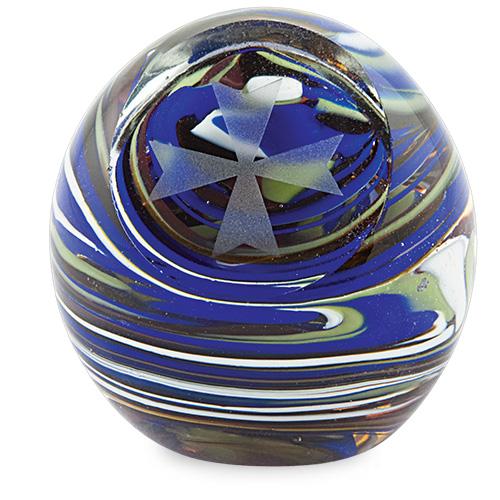Medium Round Paperweight with Cross Malta,Glass Paperweights Malta, Glass Paperweights, Mdina Glass