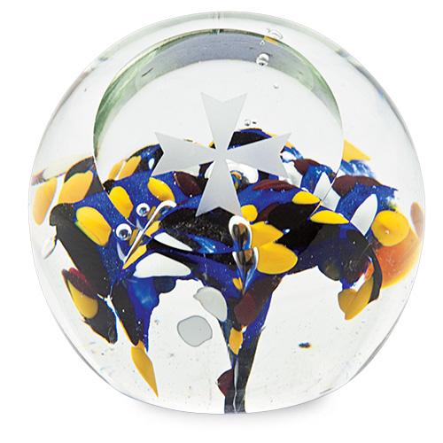 Medium Round Flower Paperweight with Maltese Cross Malta,Glass Paperweights Malta, Glass Paperweights, Mdina Glass