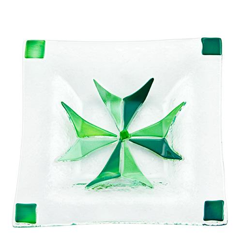 Maltese Cross Plate Green (12cm) Malta,Glass Plates, Dishes & Bowls Malta, Glass Plates, Dishes & Bowls, Mdina Glass