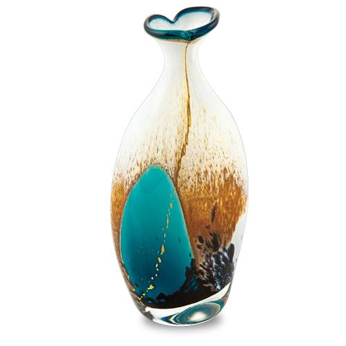 Seascape Miniature Flat Barrel Bottle Open Top Malta,Glass Seascape Malta, Glass Seascape, Mdina Glass