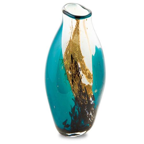 Seascape Miniature Tall Double Swirl Vase Malta,Glass Seascape Malta, Glass Seascape, Mdina Glass