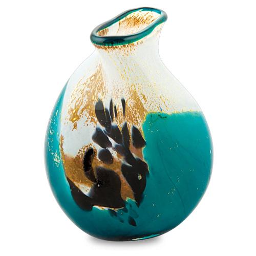 Seascape Miniature Double Swirl Vase Malta,Glass Seascape Malta, Glass Seascape, Mdina Glass
