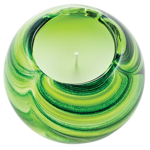 Miniature Round Candleholder (Greens) Malta,Glass Scented Candleholders Malta, Glass Scented Candleholders, Mdina Glass