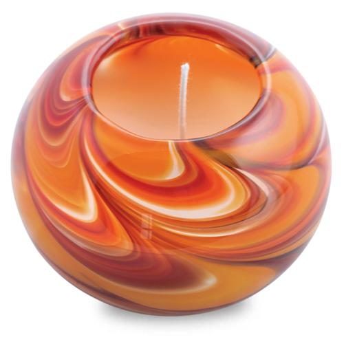 Miniature Round Candleholder (Oranges & Reds) Malta,Glass Scented Candleholders Malta, Glass Scented Candleholders, Mdina Glass