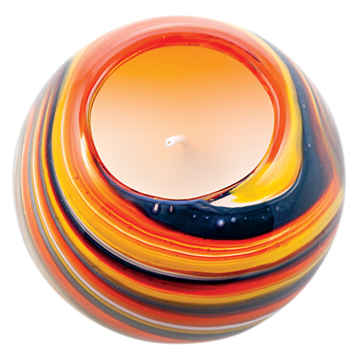Miniature Round Candleholder (Orange with Pigeon Blue & Yellow) Malta,Glass Scented Candleholders Malta, Glass Scented Candleholders, Mdina Glass