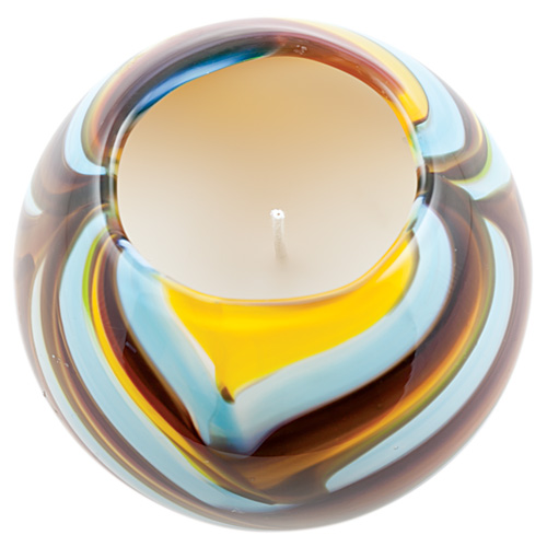 Miniature Round Candleholder (Yellow with Turquoise & Red) Malta,Glass Scented Candleholders Malta, Glass Scented Candleholders, Mdina Glass