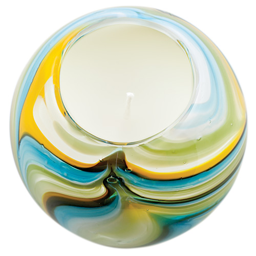 Miniature Round Candleholder (Turquoise with Yellow & Green) Malta,Glass Scented Candleholders Malta, Glass Scented Candleholders, Mdina Glass