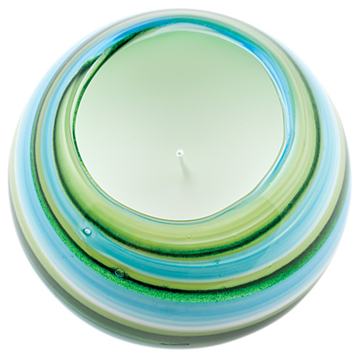 Miniature Round Candleholder (Turquoise & Greens) Malta,Glass Scented Candleholders Malta, Glass Scented Candleholders, Mdina Glass