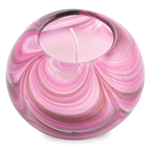 Miniature Round Candleholder (Mixed Pink) Malta,Glass Scented Candleholders Malta, Glass Scented Candleholders, Mdina Glass