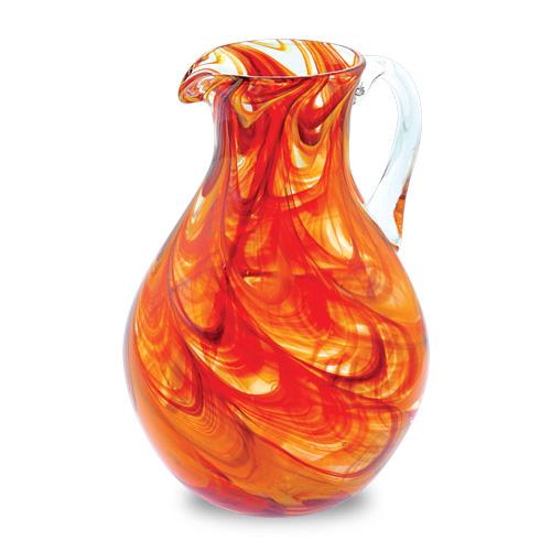 Malta,  Malta, Oranges & Reds Round Jug Malta, Lifestyle Malta, Mdina Glass Malta