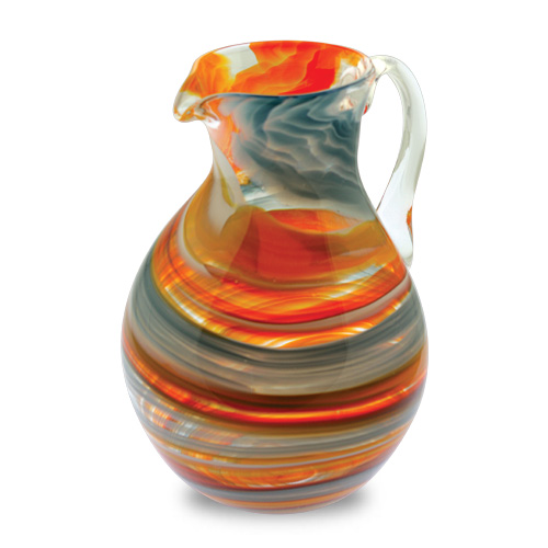 Malta,  Malta, Orange with Pigeon Blue & Yellow Round Jug Malta, Lifestyle Malta, Mdina Glass Malta