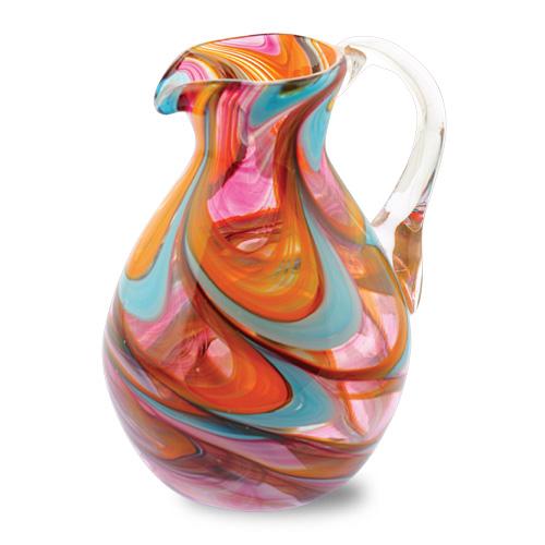 Malta,  Malta,Glass Lifestyle Malta,Glass Lifestyle, Turquoise with Italian Pink & Yellow Round Jug Malta, Mdina Glass Malta