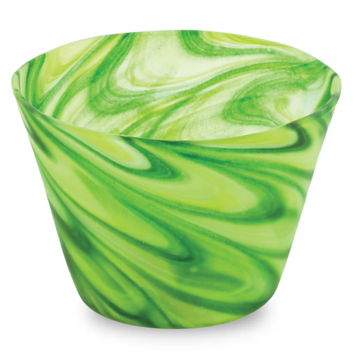 Green Frosted Round Flower Pot 1 Malta,Glass Flower Pots Malta, Glass Flower Pots, Mdina Glass