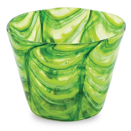 Green Round Flower Pot 1 Malta,Glass Flower Pots Malta, Glass Flower Pots, Mdina Glass