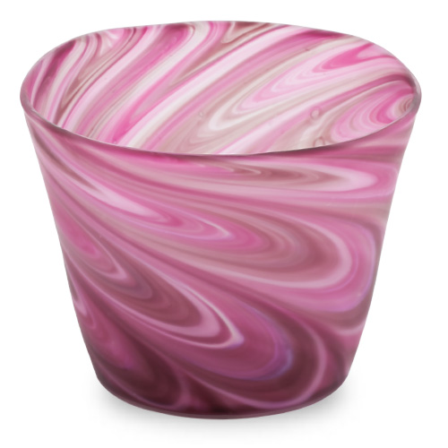 Mixed Pink Frosted Round Flower Pot 1 Malta,Glass Flower Pots Malta, Glass Flower Pots, Mdina Glass