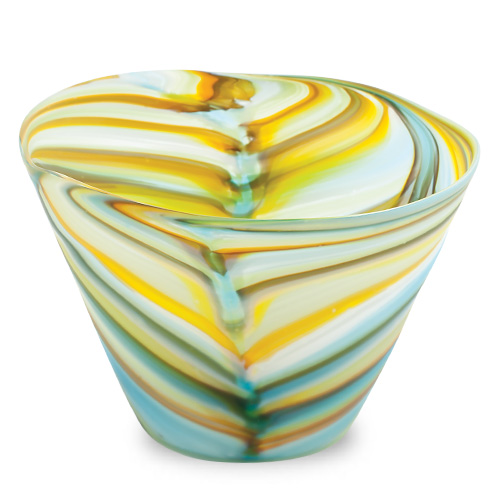 Turquoise with Yellow & Green Frosted Round Flower Pot 2 Malta,Glass Flower Pots Malta, Glass Flower Pots, Mdina Glass