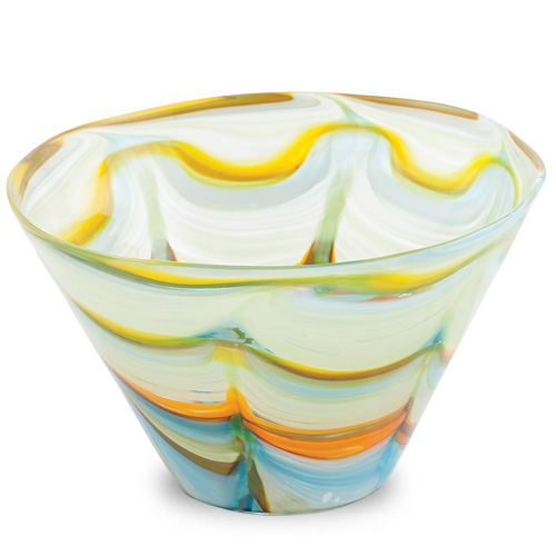Turquoise with Yellow & Green Round Flower Pot 2 Malta,Glass Flower Pots Malta, Glass Flower Pots, Mdina Glass