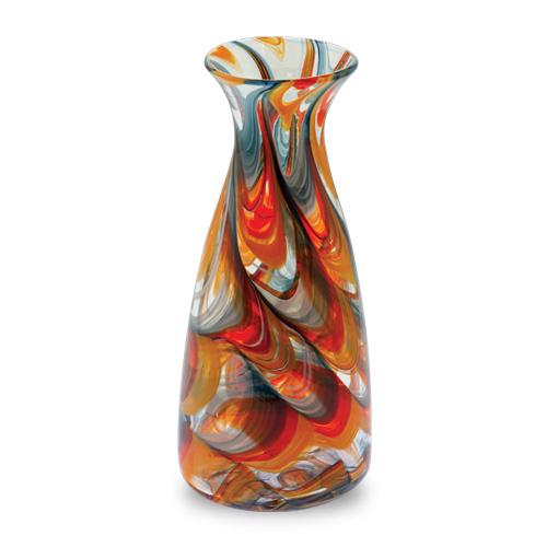 Orange with Pigeon Blue & Yellow Carafe Malta,Glass Lifestyle Range Malta, Glass Lifestyle Range, Mdina Glass