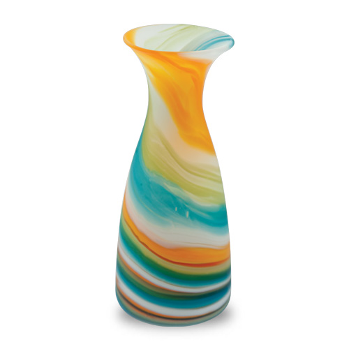 Turquoise with Yellow & Green Frosted Carafe Malta,Glass Lifestyle Range Malta, Glass Lifestyle Range, Mdina Glass