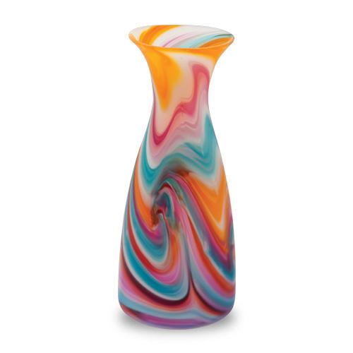 Turquoise with Italian Pink & Yellow Frosted Carafe Malta,Glass Lifestyle Range Malta, Glass Lifestyle Range, Mdina Glass