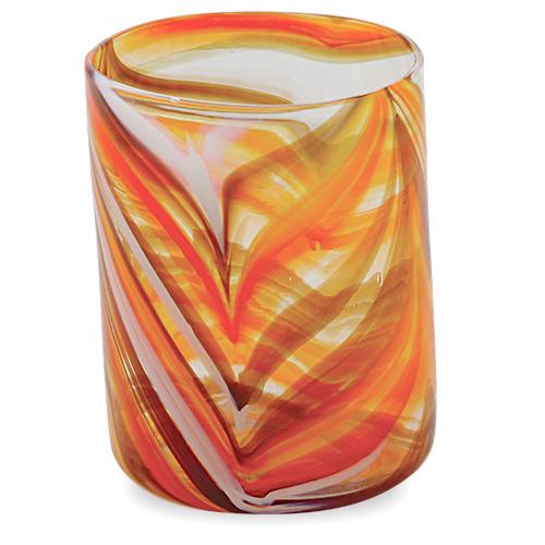 Malta,  Malta, Oranges & Reds Tumbler (Original) Malta, Lifestyle Malta, Mdina Glass Malta