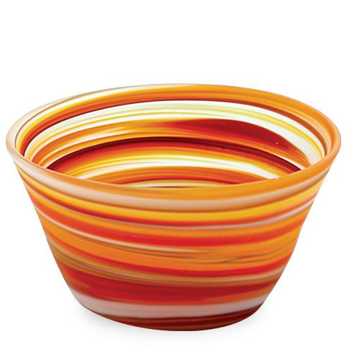 Oranges & Reds Frosted Ice-Cream Bowl Malta,Glass Serving Bowls Malta, Glass Serving Bowls, Mdina Glass