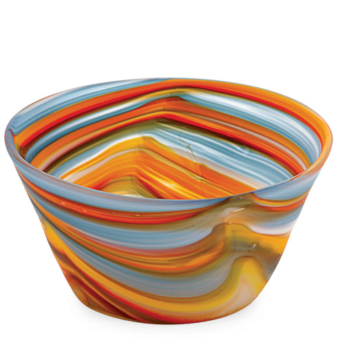 Orange with Pigeon Blue & Yellow Frosted Ice-Cream Bowl Malta,Glass Serving Bowls Malta, Glass Serving Bowls, Mdina Glass