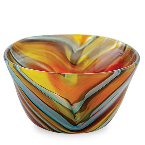 Malta,  Malta,Glass Lifestyle Malta,Glass Lifestyle, Yellow with Turquoise & Red Ice-Cream Bowl Malta, Mdina Glass Malta