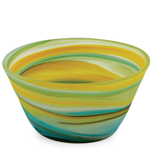 Turquoise with Yellow & Green Frosted Ice-Cream Bowl Malta,Glass Serving Bowls Malta, Glass Serving Bowls, Mdina Glass