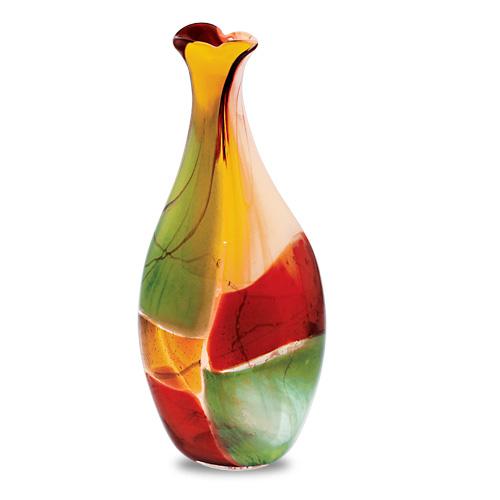 Africa Medium Flat Barrel Bottle Open Top Vase Malta,Glass Africa Malta, Glass Africa, Mdina Glass
