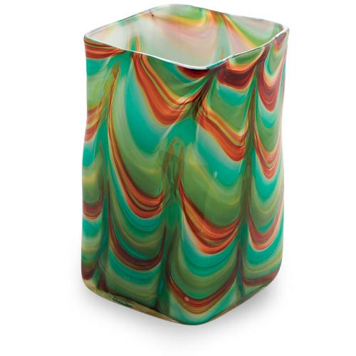 Germeno Medium Wide Cube Vase Malta,Glass Germeno Malta, Glass Germeno, Mdina Glass
