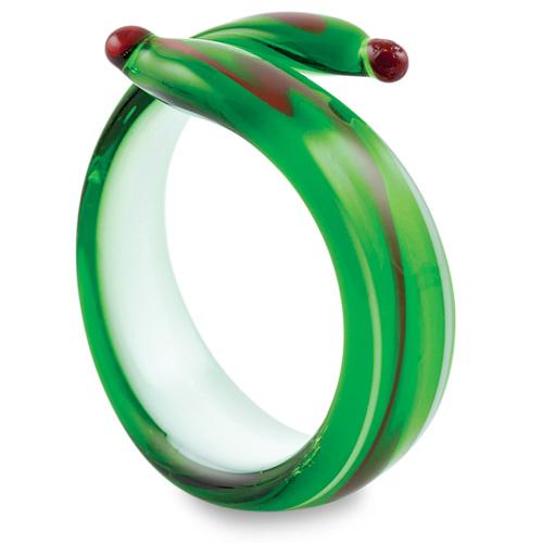 Malta,  Malta,Glass Christmas Malta,Glass Christmas, Round Green Napkin Ring Malta, Mdina Glass Malta