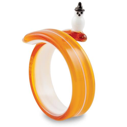 Round Amber Snowman Napkin Ring Malta,Glass Tableware Malta, Glass Tableware, Mdina Glass
