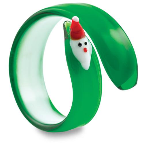 Round Green Santa Napkin Ring Malta,Glass Tableware Malta, Glass Tableware, Mdina Glass