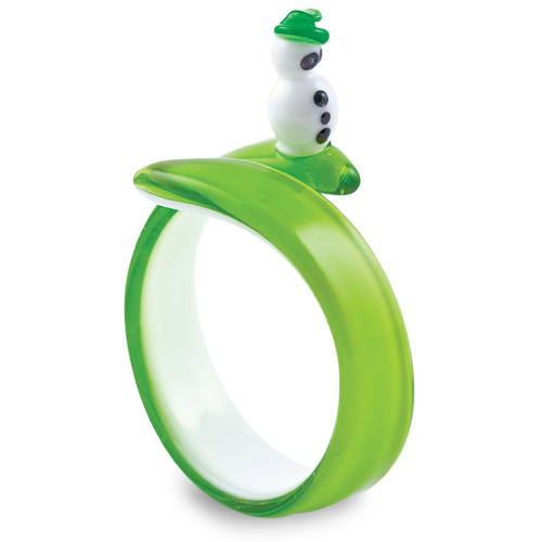Malta,  Malta,Glass Christmas Malta,Glass Christmas, Round Green Snowman Napkin Ring Malta, Mdina Glass Malta