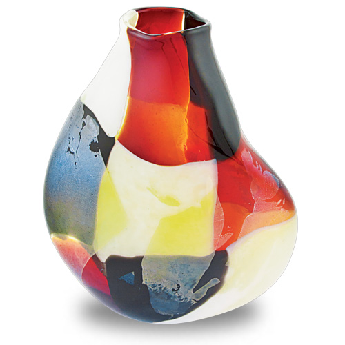 Red Mosaico Medium Double Swirl Vase Malta,Glass Red Mosaico Malta, Glass Red Mosaico, Mdina Glass