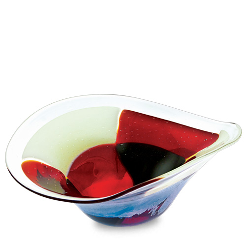 Red Mosaico Medium Moon Bowl Malta,Glass Red Mosaico Malta, Glass Red Mosaico, Mdina Glass