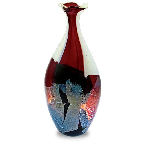 Red Mosaico Medium Flat Barrel Bottle Open Top Vase Malta,Glass Red Mosaico Malta, Glass Red Mosaico, Mdina Glass