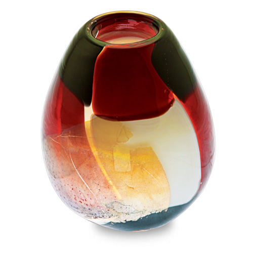 Red Mosaico Miniature Dimi Vase Malta,Glass Red Mosaico Malta, Glass Red Mosaico, Mdina Glass