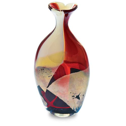 Red Mosaico Miniature Flat Barrel Bottle Open Top Malta,Glass Red Mosaico Malta, Glass Red Mosaico, Mdina Glass