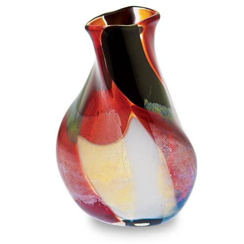 Red Mosaico Miniature Double Swirl Vase Malta,Glass Red Mosaico Malta, Glass Red Mosaico, Mdina Glass