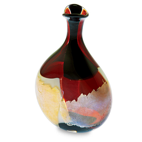 Red Mosaico Miniature Lollipop Bottle Vase Malta,Glass Red Mosaico Malta, Glass Red Mosaico, Mdina Glass