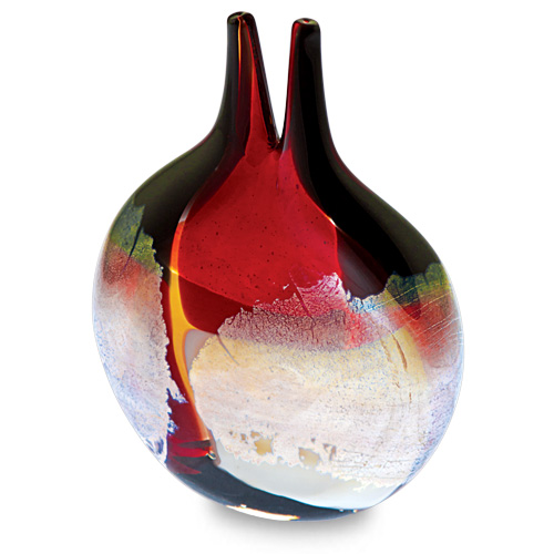 Red Mosaico Miniature Double Neck Vase Malta,Glass Vases Malta, Glass Vases, Mdina Glass
