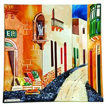 Gozo Street Scene (28cm) Malta,Glass Pictures & Scenes Malta, Glass Pictures & Scenes, Mdina Glass