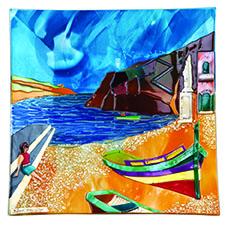 Xlendi Scene (28cm) Malta,Glass Pictures & Scenes Malta, Glass Pictures & Scenes, Mdina Glass