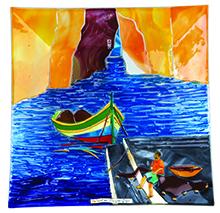 Dwejra Scene (40cm) Malta,Glass Pictures & Scenes Malta, Glass Pictures & Scenes, Mdina Glass