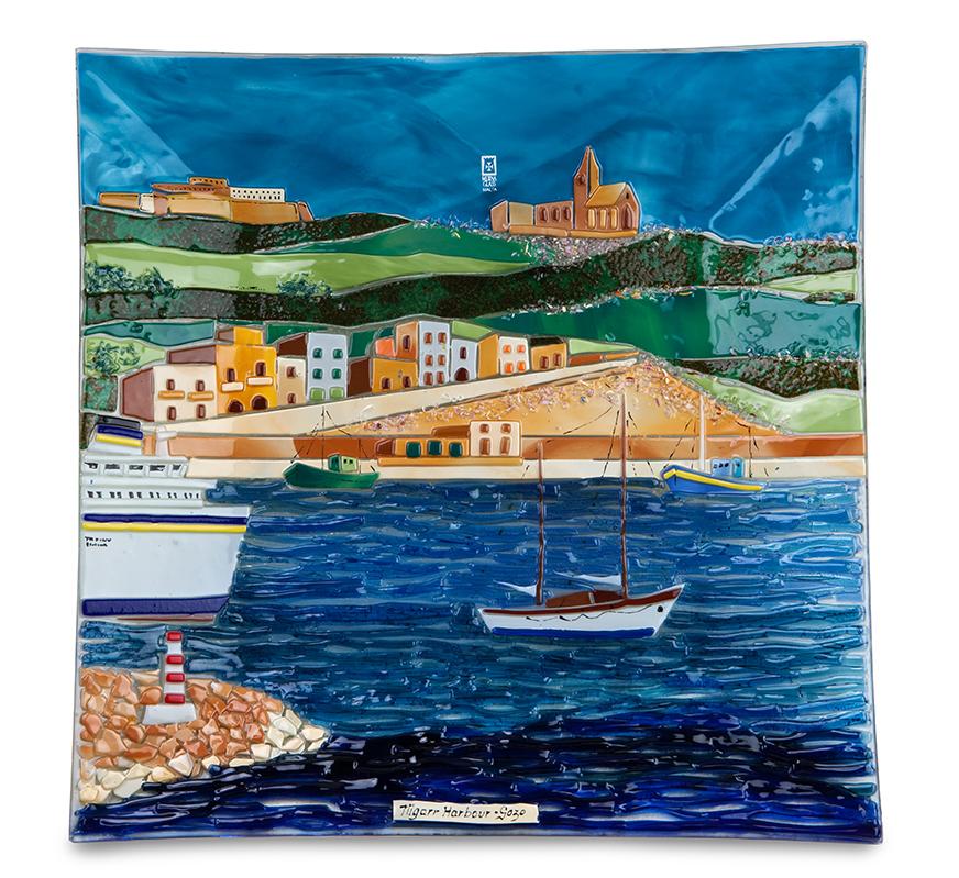 Mgarr Scene (28cm) Malta,Glass Pictures & Scenes Malta, Glass Pictures & Scenes, Mdina Glass