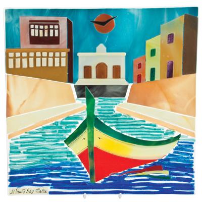 Malta,  Malta, St Paul's Bay Scene (27cm) Malta, Pictures & Scenes Malta, Mdina Glass Malta