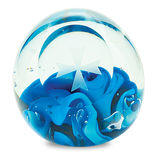 Small Round Paperweight with Cross Malta,Glass Paperweights Malta, Glass Paperweights, Mdina Glass