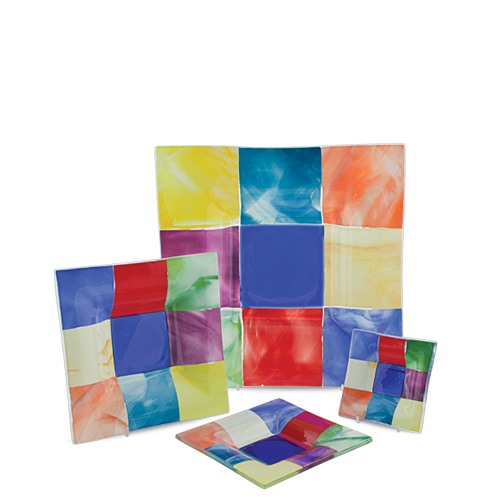 Multi Coloured Square Dish (12cm) Malta,Glass Plates, Dishes & Bowls Malta, Glass Plates, Dishes & Bowls, Mdina Glass
